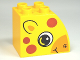 Part No: 11344pb003  Name: Duplo, Brick 2 x 3 x 2 with Curved Top and Dark Orange Spots and Giraffe Face Pattern on Both Sides