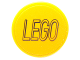Part No: 14769pb060  Name: Tile, Round 2 x 2 with Bottom Stud Holder with Black Lego Logo Outline on Yellow Background Pattern (Sticker) - Set 76039