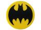 Part No: 14769pb120  Name: Tile, Round 2 x 2 with Bottom Stud Holder with Black Bat Batman Logo Pattern