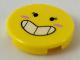 Part No: 14769pb224  Name: Tile, Round 2 x 2 with Bottom Stud Holder with Black Eyes with Eyelashes, Large Smile Showing Teeth, Dark Pink Blush Pattern