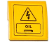 Part No: 15068pb034  Name: Slope, Curved 2 x 2 with Electricity Danger Sign, Hatch and 'OIL'  Pattern (Sticker) - Set 60075