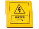 Part No: 15068pb035  Name: Slope, Curved 2 x 2 No Studs with Electricity Danger Sign, Hatch and 'WATER' Pattern (Sticker) - Set 60075