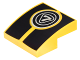 Part No: 15068pb085  Name: Slope, Curved 2 x 2 with Silver '7' in Circles over Black Stripes Pattern