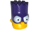 Part No: 15523pb03  Name: Minifigure, Head Modified Simpsons Bart Simpson with Dark Purple Mask Pattern