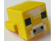 Part No: 19727pb006  Name: Animal, Body Part Creature Head Pixelated with Light Bluish Gray, White, Bright Light Yellow and Black Face Pattern (Minecraft Moobloom)