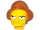 Part No: 19896pb01  Name: Minifigure, Head Modified Simpsons Edna Krabappel with Dark Turquoise Earrings and Medium Nougat Hair Pattern