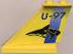 Part No: 2340pb013  Name: Tail 4 x 1 x 3 with Blue 'U-97' and Stripe and Black Shark Pattern on Both Sides (Stickers)