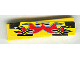 Part No: 2431pb058  Name: Tile 1 x 4 with Red Flames on Black and Yellow Pattern (Sticker) - Set 8644
