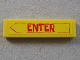 Part No: 2431pb116  Name: Tile 1 x 4 with Red 'ENTER' in Arrow Pattern (Sticker)