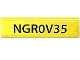 Part No: 2431pb153  Name: Tile 1 x 4 with Black 'NGR0V35' on Yellow Background Pattern (Sticker) - Set 8969