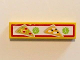 Part No: 2431pb430  Name: Tile 1 x 4 with 2 Pizza Slices and Pricing '2' and '3' with Red Border Pattern (Sticker) - Set 41058