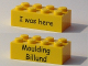Part No: 3001pb110  Name: Brick 2 x 4 with Black 'I was here' Front and 'Moulding Billund' Back - Kornmarken Factory Tour Pattern