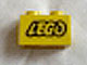 Part No: 3004pb036  Name: Brick 1 x 2 with Lego Logo Open O Style Black Outline Pattern