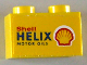 Part No: 3004pb068  Name: Brick 1 x 2 with 'Shell HELIX MOTOR OILS' on Yellow Background Pattern on Both Sides (Stickers) - Set 1254