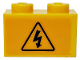 Part No: 3004pb140  Name: Brick 1 x 2 with Electricity Danger Sign Pattern (Sticker) - Set 60022