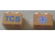 Part No: 3004pb147  Name: Brick 1 x 2 with Blue 'TCS' and TCS Logo on Reverse Pattern (Stickers) - Set 1589-2
