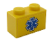 Part No: 3004pb197  Name: Brick 1 x 2 with Blue EMT Star of Life on Yellow Background Pattern (Sticker) - Set 60203