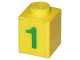 Part No: 3005pb007  Name: Brick 1 x 1 with Green Number 1 Pattern (Sticker) - Set 7740