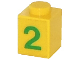 Part No: 3005pb008  Name: Brick 1 x 1 with Green Number 2 Pattern (Sticker) - Set 7740