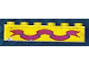 Part No: 3009pb006  Name: Brick 1 x 6 with Dark Pink Ribbon on Yellow Background Pattern (Sticker)