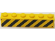 Part No: 3009pb219  Name: Brick 1 x 6 with 6 Black and 7 Yellow Danger Stripes Pattern (Sticker) - Set 60122