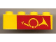 Part No: 3010pb024  Name: Brick 1 x 4 with Mail Horn on Red Background Pattern, Right Side
