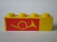 Part No: 3010pb025  Name: Brick 1 x 4 with Mail Horn on Red Background Pattern, Left Side
