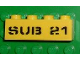 Part No: 3010pb079  Name: Brick 1 x 4 with Black 'SUB 21' Pattern (Sticker) - Set 7774