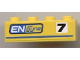 Part No: 3010pb104L  Name: Brick 1 x 4 with Black '7' and 'ENgyne' Pattern Model Left side (Sticker) - Set 8124