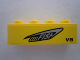 Part No: 3010pb146L  Name: Brick 1 x 4 with 'CELLFISH' and 'V8' on Yellow Background Pattern Model Left Side (Sticker) - Set 8495