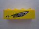 Part No: 3010pb146R  Name: Brick 1 x 4 with 'CELLFISH' and 'V8' on Yellow Background Pattern Model Right Side (Sticker) - Set 8495