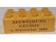 Part No: 3011pb041  Name: Duplo, Brick 2 x 4 with Einweihung Neuhof 4. September 1981 Pattern