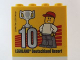Part No: 30144pb156  Name: Brick 2 x 4 x 3 with Besuchsmeister 10 Silver 2014 Legoland Deutschland Resort Pattern