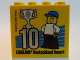 Part No: 30144pb185  Name: Brick 2 x 4 x 3 with Besuchsmeister 10 Silver 2016 Legoland Deutschland Resort Pattern
