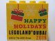 Part No: 30144pb195  Name: Brick 2 x 4 x 3 with Happy Holidays Legoland Dubai 2016 Pattern
