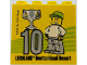 Part No: 30144pb230  Name: Brick 2 x 4 x 3 with Besuchsmeister 10 Silver 2018 Legoland Deutschland Resort Pattern