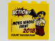 Part No: 30144pb249  Name: Brick 2 x 4 x 3 with Action! Movie Heroes Event 2018 LEGOLAND Deutschland Resort Pattern
