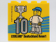 Part No: 30144pb269  Name: Brick 2 x 4 x 3 with Besuchsmeister 10 Silver 2019 Legoland Deutschland Resort Pattern