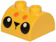 Part No: 30165pb03  Name: Brick, Modified 2 x 2 Curved Top with 2 Top Studs with Black Eyes, Triangle Nose and 2 Orange Dots Pattern