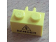 Part No: 30237bpb01  Name: Brick, Modified 1 x 2 with Open O Clip Vertical with Electricity Danger Sign Pattern (Sticker) - Set 8424