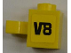 Part No: 30241pb01R  Name: Brick, Modified 1 x 1 with Clip Vertical with 'V8' on Yellow Background Pattern Model Right Side (Sticker) - Set 8186