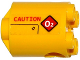 Part No: 30361pb031R  Name: Brick, Round 2 x 2 x 2 Robot Body with 'CAUTION' and Warning Sign with 'O2' Pattern Model Right Side (Sticker) - Set 60092