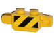 Part No: 30386pb03  Name: Hinge Brick 1 x 2 Locking, 9 Teeth with Black and Yellow Danger Stripes Thin Pattern on Both Sides (Stickers) - Sets 60033 / 60035
