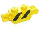 Part No: 30386pb05  Name: Hinge Brick 1 x 2 Locking, 9 Teeth with Black and Yellow Thin Danger Stripes, Yellow Corners Pattern on Both Sides (Stickers) - Set 60123