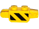Part No: 30386pb06  Name: Hinge Brick 1 x 2 Locking, 9 Teeth with Black and Yellow Danger Stripes, Black Corner Top Right Thin Pattern on Both Sides (Stickers) - Set 60124