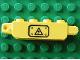 Part No: 30387pb001La  Name: Hinge Brick 1 x 4 Locking, 9 Teeth with Black Electricity Danger Sign on Transparent Background Pattern Model Left Side (Sticker) - Set 7248
