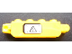 Part No: 30387pb001Lb  Name: Hinge Brick 1 x 4 Locking, 9 Teeth with Black Electricity Danger Sign on White Background Pattern Model Left Side (Sticker) - Set 7248