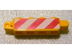 Part No: 30387pb004  Name: Hinge Brick 1 x 4 Locking, 9 Teeth with Red and White Danger Stripes Pattern on Both Sides (Stickers) - Set 3677