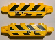Part No: 30387pb006  Name: Hinge Brick 1 x 4 Locking, 9 Teeth with Black and Yellow Danger Stripes and '5T' Pattern on Both Sides (Stickers) - Set 8899