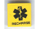 Part No: 3068bpb0404  Name: Tile 2 x 2 with Groove with Black EMT Star of Life and 'RECHARGE' Pattern (Sticker) - Set 7709